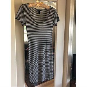 F21 black & white striped dress